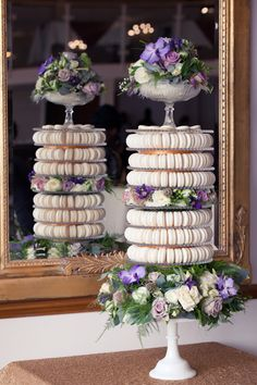 Macaron wedding tower - from a Dior inspired photo shoot. Influenced by #metallic wedding trend with gold bead decoration and gold sequined tablecloth. Photography by http://www.photographybykathryn.com/ Styled shoot by http://www.brachettoweddings.com/ and flowers by http://www.minniebees.com/ Macaron wedding cake, alternative wedding cake, macaroon wedding cake
