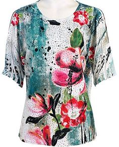 Jess & Jane - Painted Bloom, Peek-a-Boo, Cold Shoulder, Scoop Neck, Sequined Top