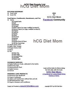 HCG DIET MOM supply shopping list Great list to combine with one of the HCG drops over at http://hcgdropsfast.net/.
