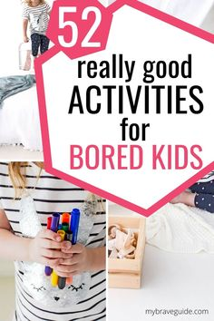 Stuck Inside and Need an Idea Quick? 52 indoor activities for bored kids that require little prep work or supplies. These ideas are great for rainy days and/or school closures. Kids Activities At Home, Babysitting Activities, Summer Activities, Preschool Activities, Games For Kids, Outdoor Activities, Kids Fun, Toddler Games, Kid Games