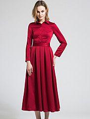 BORME® Femme Col de Chemise Manche Longues Maxi Robes-Y042