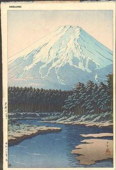 Kawase Hasui: OSHINO NO FUJI (Mount Fuji, Oshino) - Asian Collection Internet Auction