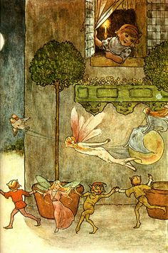 Pixies under the window Fairy Fairies illustration Woodland Creatures, Magical Creatures, Kobold, Elves And Fairies, Vintage Fairies, Fairytale Art, Beautiful Fairies, Fairy Art, Illustrators