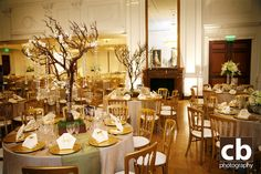 Gold and White Wedding Reception in the East Room