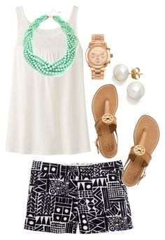 """Turquoise"" by the-southern-prep ❤ liked on Polyvore featuring J.Crew, Uniqlo, Tory Burch, BaubleBar and Michael Kors"