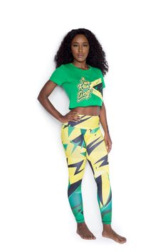 Kingston reggae leggings Full-length eco-friendly and hand printed leggings. Soft and comfy, they're perfect for layering under oversized shirts and sweatshirts, or to wear on your most busiest days.  #reggae #leggings
