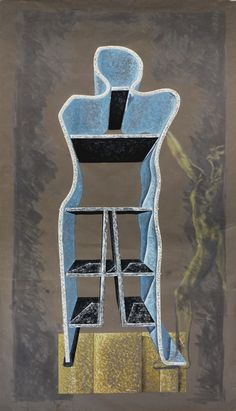 GAETANO PESCE. HUMAN SHAPE CABINET, 1991, Oil Painting On Fabriano Paper,  310