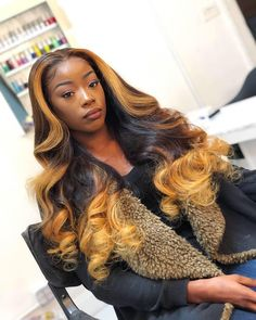 Ombre Full Lace Wigs With Baby Hair Glueless Lace Wigs Pre Plucked Hairline My Hairstyle, Pretty Hairstyles, Wig Hairstyles, Black Hairstyles, Sew In Weave Hairstyles, Drawing Hairstyles, Casual Hairstyles, Vintage Hairstyles, Love Hair