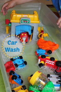 We love our Little People toys but the car wash doesn't get much attention. It's a hit, though, when put in the sensory bin with cars and water! It fit in great with our Bubbles, Boats and Floats Mother Goose Time theme in May. Share!005661