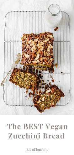This Vegan Zucchini Bread is truly the BEST! Sweet, warm, and delicious, this recipe is great as a healthy breakfast loaf, snack, or dessert. Make this easy vegan, gluten-free recipe in no time for a wholesome treat that lasts all week long! Best Vegetarian Recipes, Gf Recipes, Lemon Recipes, Brunch Recipes, Gluten Free Recipes, Whole Food Recipes, Vegan Zucchini, Zucchini Bread, Easy Weeknight Dinners