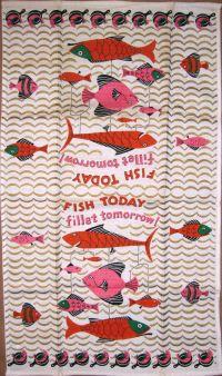 Fish kitchen towel, vintage