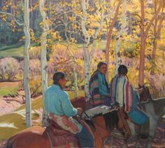 E. Martin Hennings - Indian Horsemen, oil on canvas,