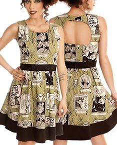 Ipso Facto Gothic & Punk Women's Short Dresses in Twill, Cotton, Rayon