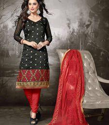 Buy Black embroidered chanderi cotton unstitched salwar with dupatta dress-material online