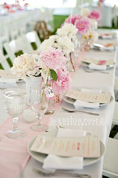 Pink and white, vintage fun reception centerpieces in Oriental NC wedding by Cynthia Rose Photography