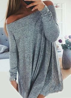 Long Sleeve Off the Shoulder Grey Shift Dress. Looks super comfy and cute. Mode Outfits, Fall Outfits, Casual Outfits, Fashion Outfits, Short Outfits, Dress Fashion, Summer Outfits, Womens Fashion, Fashion Tips