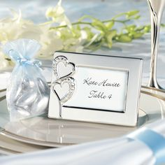 Twin Hearts Favor Frame and Place Card Holder with Place Card