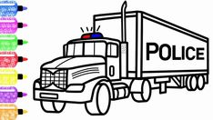 How to Draw a Police Truck for Kids - Race Coloring Page for Children - New Coloring Book for Kids Coloring Magic Club, nice to meet you! We are Coloring Mag. Airplane Coloring Pages, Truck Coloring Pages, Cartoon Coloring Pages, Coloring Sheets, Coloring Books, Police Truck, Coloring Pages Inspirational, Color Magic, Garbage Truck