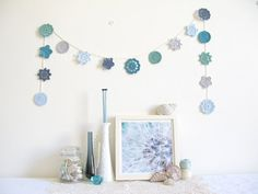 Nellie, coastal cottage chic, crochet flower garland in soothing ocean blues - Ready To Ship, by Emma lamb. £37.00, via Etsy.