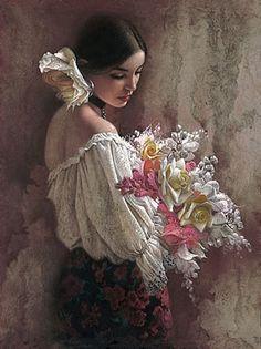 lee bogle art paintings  portraits women flowers