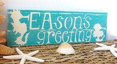 Christmas Beach Sign SEAsons Greetings-Aqua   Simply cottage cute!