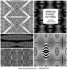 African Ethnic original seamless patterns. Vector backgrounds collection can be used for wallpaper, pattern fills, web page background, surface textures. seamless background  - stock vector