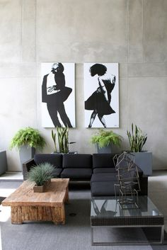 Inspired by this? Get this modern design look for less!  Check out our Madison Collection http://www.teakwarehouse.com/teak/product/madison-combo-black/ and Concrete Planters http://www.teakwarehouse.com/teak/product/raw-concrete-tapered-planter/ to get the look!