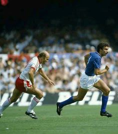 Italy 2 Poland 0 in 1982 at Camp Nou, Barcelona. Giuseppe Bergomi brings the ball out of defence chased by Grzegorz Lato in the World Cup Semi Final.