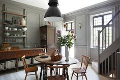 kitchens, wall colors, interior, grey walls, modern country, antique furniture, light fixtures, cozy kitchen, kitchen cabinets