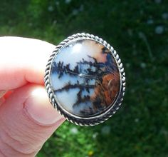 Beautiful Vintage Sterling Silver Native American Petrified Wood Ring