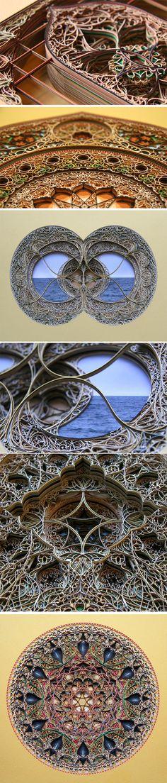 L'artiste Eric Standley réalise des vitraux incroyables à l'aide de différents papiers et de beaucoup de patience. Il s'inspire pour ses créations de l'architecture Gothique et de l'art de l'Islam. Il utilise plus de 100 feuilles de papier de différentes couleurs et épaisseurs et utilise la découpe au laser pour les parties les plus fines et les plus complexes de l'oeuvre.
