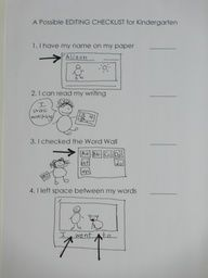 great kindergarten editing checklist.