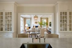 InGoodTaste: AnneDeckerArchitect - Design Chic.  View from the kitchen into the dining room.  Ceiling, windows, drapery.