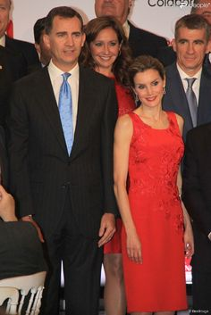 Spanish Crown Prince Felipe and Crown Princess Letizia attends a dinner hosted by the Chamber of Commerce in Seville, Spain, on May 20, 2014.