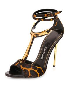 Leopard-Print Calf Hair T-Bar Sandal by TOM FORD at Neiman Marcus.