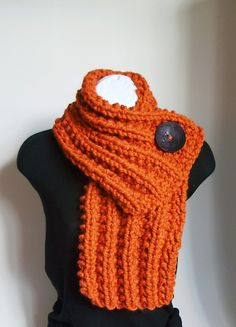 LAST ONE - Pumpkin Orange Chunky Knit Cowl with Large Brown Button. $39.00, via Etsy.