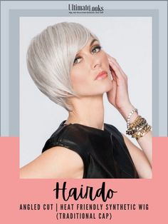 A short, asymmetrical wig with tapered layers with added length on the right side and a top with expertly tapered layers blend to a smooth, neck-hugging nape. This wig looks, feels and styles just like your own hair.#hairstyles #hairdo #hairoftheday #styleinspo #styles Short Hair Wigs, Short Hair Styles, Styling Tools, Synthetic Wigs, Wig Hairstyles, Curls, Layers, Smooth, Cap