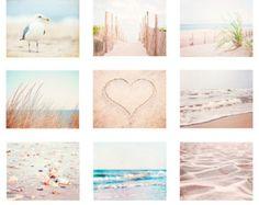 Pale Beach Photography Set, white cream light beige brown coastal prints 9 nine 11x14, 8x10, 5x7 ocean sea dune blue seashore wall art shore