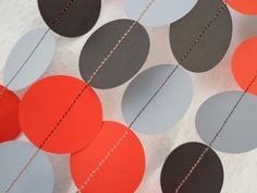 Black Red and Grey Paper Craft Garland Circle 8ft For by garlander, $8.00