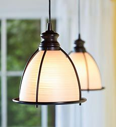Screw-In Brushed Bronze and Glass Cage Pendant Light