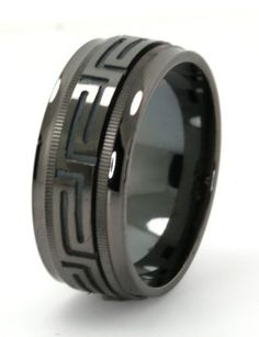 Mens Solid Sterling Silver Black Rhodium Plated Versace Style Spinning Wedding Band (Size 9, 9.5, 10, 10.5, 11, 11.5, 12, 12.5, 13, 13.5, 14) Mevoi. $84.95