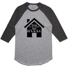 theIndie No Place Like Home (Black) 3/4-Sleeve Raglan Baseball T-Shirt
