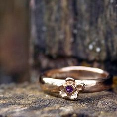 Forget Me Not Ring Amethyst Setting 14k Gold