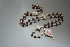 Antique Rosary. 19th Century. Bohemian Garnets. by MinistryofLight