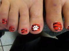 Clemson toenail polish design