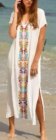 White Placement Print Split Side Maxi Dress