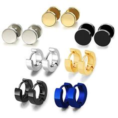 Zhenhui Fashion Jewelry Punk Style Stainless Steel Stud Earrings Set for Men Women * Visit the image link more details.