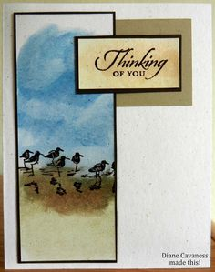 handmade card using Stampin Up Wetlands. beautiful beach scene in tall and thin panel . looks like ink pad to paper coloring in the shy . Scrapbooking, Scrapbook Cards, Nautical Cards, Bird Cards, Stamping Up Cards, Get Well Cards, Sympathy Cards, Greeting Cards, Back To Nature
