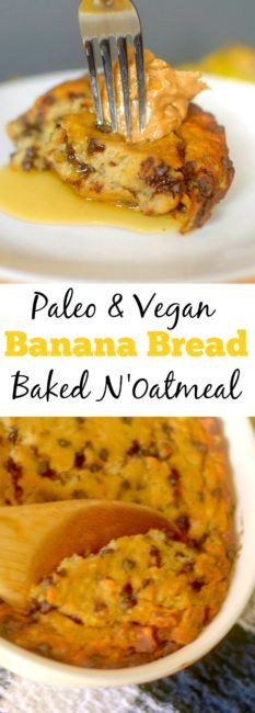 Craving banana bread for breakfast? Try this Paleo Chocolate Chip Banana Bread N'Oatmeal Bake! It's full of fiber and protein to keep you full and satisfied all morning! Also Vegan-friendly!  | Gluten-free breakfast | Grain-free | Dairy-free | Coconut Flour |