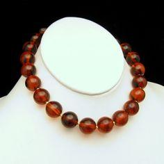 Gorgeous TRIFARI Vintage Chunky Cherry Amber Bakelite Beads Choker.